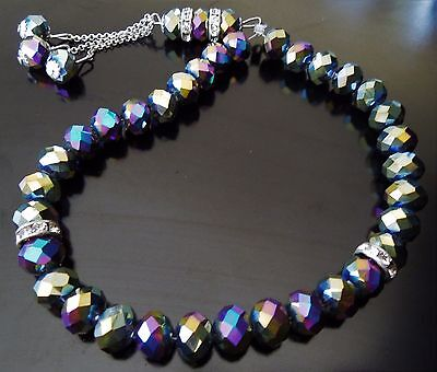 Royal 170 ct Mystic Topaz 33 Faceted 8 mm Prayer Beads Bracelet Unique Handmade