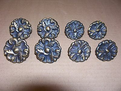 (8) Vintage Brass Finish Drawer Pulls / Knobs -- 2 Sizes -- Patented --