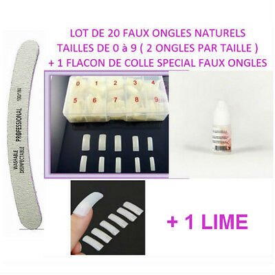 Lot 20 Capsules Tips Naturel Faux Ongle Gel Uv Vernis + Colle + Lime Ong059