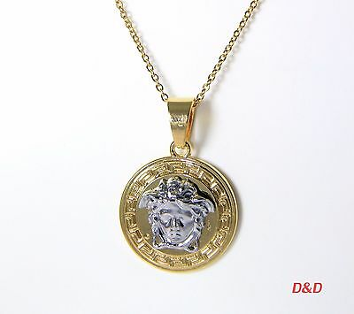 "Quality 18K Gold Plated 4.5cm Hip Hop Pendant Necklace 24""Stainless steel Chain"