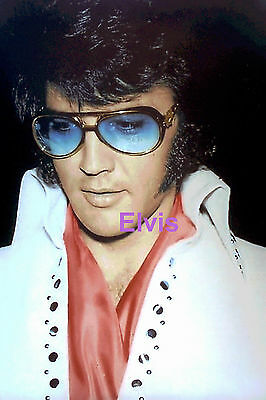Elvis Presley Gorgeous Red Scarf Blue Tinted Eyeglasses Apache 1970 Photo Candid