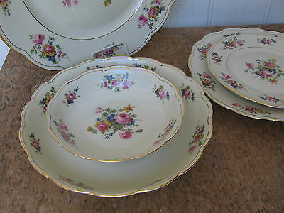 Royal Bayreuth 5 Pc Place Setting Dinner Plate Dresden Floral ROB 13 Trim 1194
