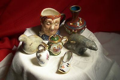 7pc. VINTAGE MINIATURES COLLECTABLES: CARVINGS,R.DOULT.,FR.LIMOGE,CLOISONNEE, L-