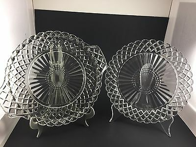 """Vintage Anchor Hocking Wexford Waffle Pattern Dinner Plates 10"""" And 12"""" Diameter"""