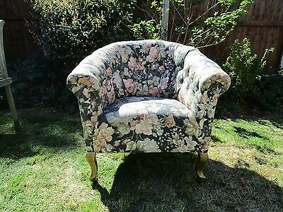 Antique Button Upholstered Tub Armchair