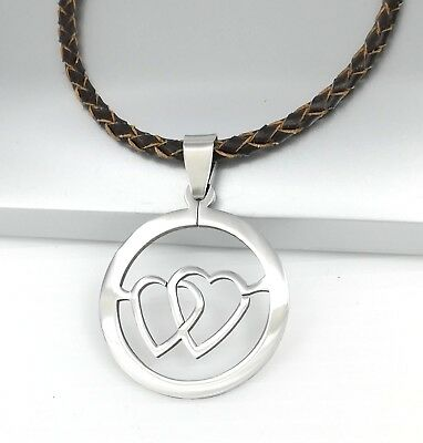 Silver Double Heart Love Stainless Steel Pendant Braided Brown Leather Necklace
