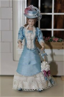 Edwardian /Victorian Lady In Day Dress By D.C.T Miniatures 1:12 From UK Signed