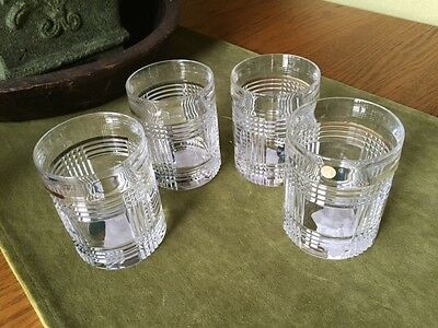 SET/4 RALPH LAUREN GLEN PLAID LEAD CRYSTAL OLD FASHION ROCK GLASSES New/No Box
