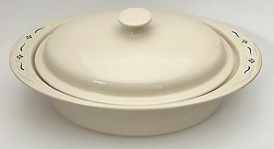 Longaberger Pottery Woven Traditions Green Oval Covered Casserole Roaster Baker
