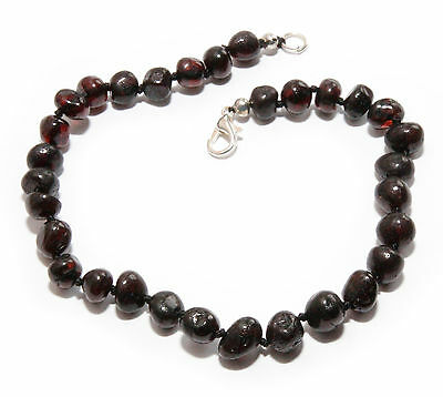 "Genuine Baltic Amber Beads Polished Adult Anklet 25.5 cm / 10.03"" Dark Cherry"