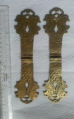 Pair reclaimed Brass antique strap hinges , ornate pierced and etched design