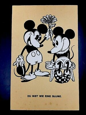 Vintage German Disney Postcard Mickey Minnie Mouse Hagelberg Photolithograph