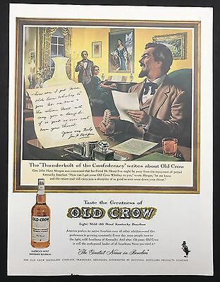 1961 Vintage Print Ad 1960s OLD CROW Kentucky Bourbon Whiskey Illustration