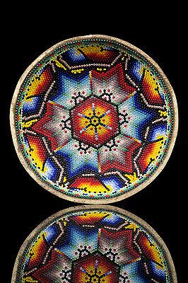 HUICHOL SACRED GOURD decorated with beads.  green Peyote symbol.