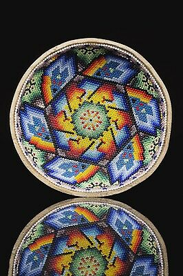 HUICHOL SACRED GOURD decorated with beads. Deer and peyote symbols.