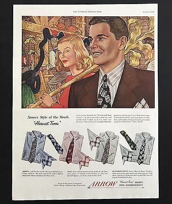 1948 Vintage Print Ad 1940s ARROW Shirt Men's Fashion Style Color Illustration