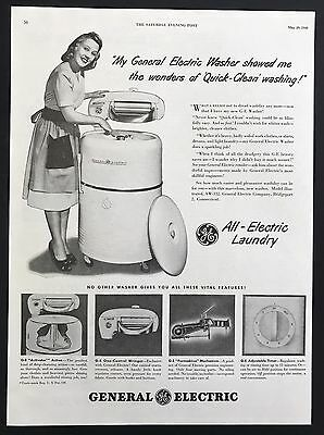 1948 Vintage Print Ad 1940s GENERAL ELECTRIC Laundry Washer Appliance