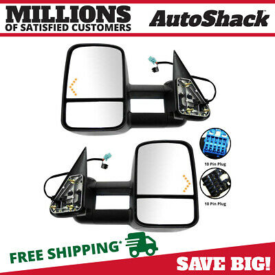 Power Heated Tow Mirrors Set Fits 03-07 Silverado Sierra Pickup W/ LED Signals