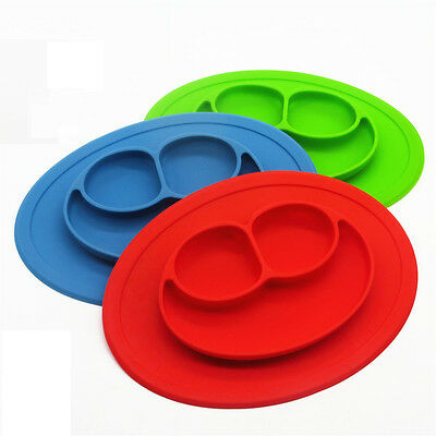 3 Section Baby Feeding Place Mat Plate with Polished Bottom that Sticks to Table