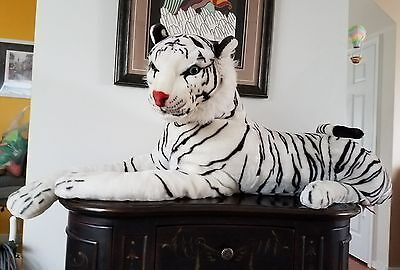 Melissa & Doug Plush Animal Giant Stuffed White Siberian Tiger Excellent