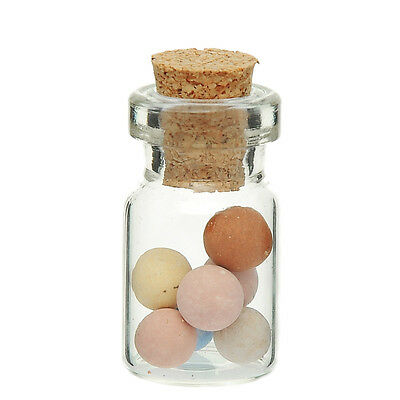 10x empty mini Glass bottles with Cork Container transparent 13,5 x 26,5 mm