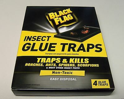 Black Flag, 4-Pack Insect Glue Traps, Non Toxic, Kills Ants,roaches,spiders Etc.