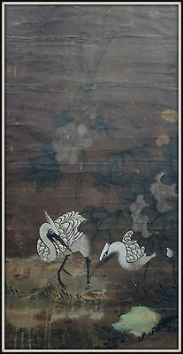Antique Large Chinese Watercolour/Gouache on Paper Scroll Painting Cranes