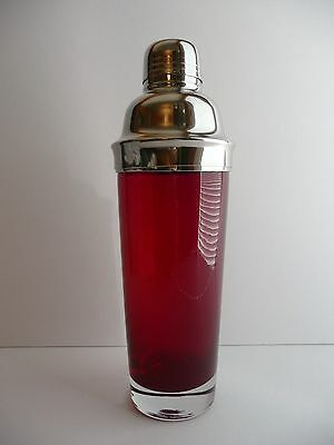 RUBY RED Glass COCKTAIL SHAKER Clear Base Chrome Metal Strainer Lid with Cap