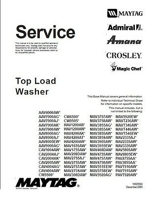 Repair Manual: Amana, Maytag, Magic Chef, Crosley, and Admiral Top-load washers