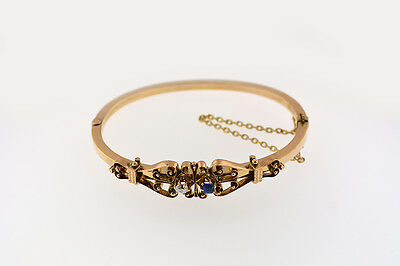 14K Rose Gold Antique Victorian Bangle With Diamond And Blue Sapphire Bracelet