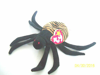 plush ty beanie baby SPINNER spider stuffed animal 1996 pe tags