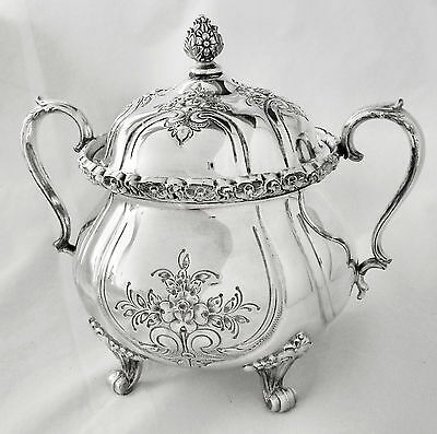 """GORGEOUS! Atq WILCOX IS """"Du Barry"""" 7903 Aesthetic Slv Plate Ftd Sugar Bowl w/Lid"""