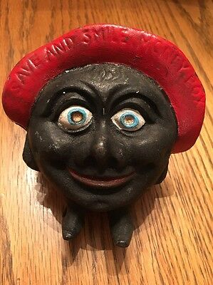 Vintage Save And Smile Money Bank Black Americana  English Cast Iron Coin Bank