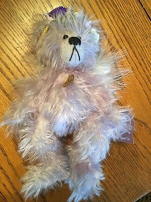 "Annette Funicello Purple Mohair Jointed Teddy Bear, Eadie 8"" W Feather Wings"