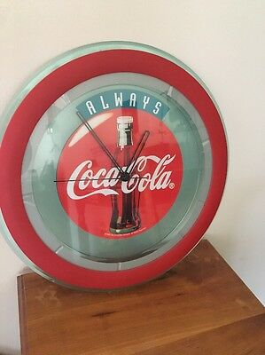 "12"" Coca-Cola Coke Wall Clock Green Tint Red Around Rim. No Numbers. Dated 1996"