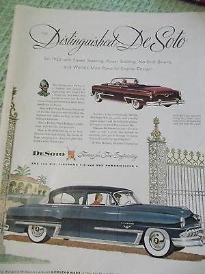 Color LIFE automotive AD for 160 H.P. Fire Dome 1953 distinguished DeSoto
