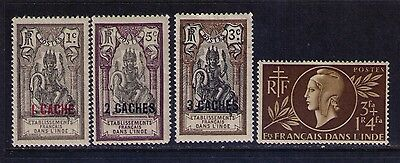 French India Stamps ,SC # 54-6;B14 MH