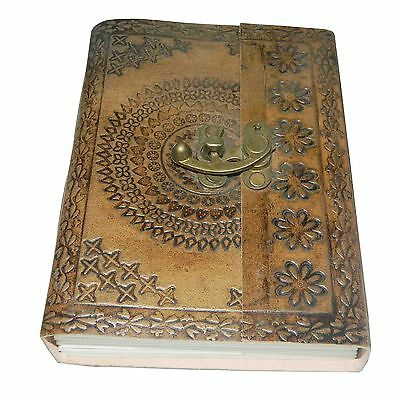 """M&N Handmade Tanned Leather Journal Notebook Blank Pages Metal Clasp 7""""x5"""""""