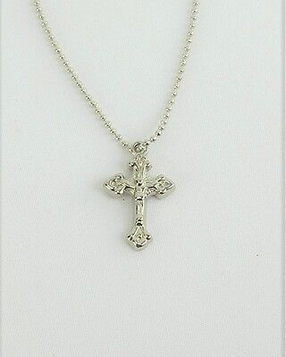 """Lovvbugg Silver Crucifix Necklace for 18"""" American Girl Doll Clothes Communion"""