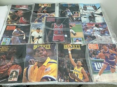 Lot Of 14 Beckett Magazines 1991 Price Guides NBA & MLB Jordan Ripken Magic EUC