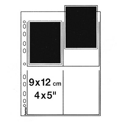 25 x Hama NEGATIVE SLEEVES Clear Sheet For 4 Negative/Slide 9x12 cm, 4 x 5""