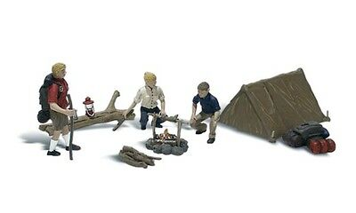 Campers with tent + N SCALE A2199 - For Model Train Layout - Painted & Assembled