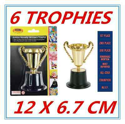 6 X Large Novelty Party Gold Winner Trophies - Birthday Party, Event, Olympic A