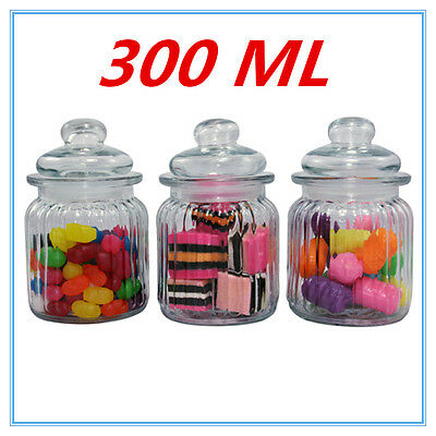 3 X Mini Small Clear Glass Jars Air Tight Lid Food Storage Candle Candy Party A