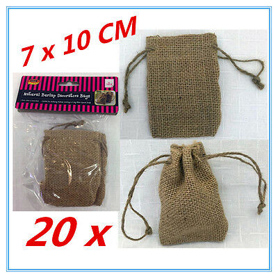 20 X Small Natural Burlap Material Decorative Brown Retro Bags Craft Wedding Fw