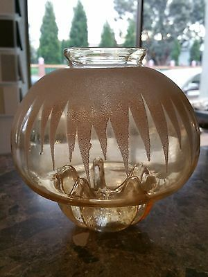 Antique/Vintage Ceiling Light/ Jelly Fish/ Etched Glass/ Bronze/ Great Condition