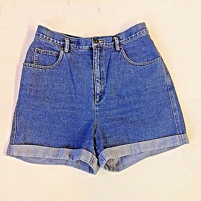 Liz Wear Shorts Size 14 Vintage 1990s High Waist Light Blue Rolled Mom's Denim