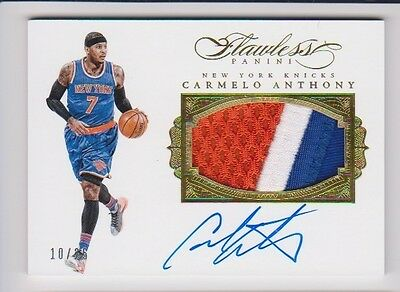 Carmelo Anthony 2015/16 Panini Flawless Knicks Game Used Logo Patch Auto 10/25