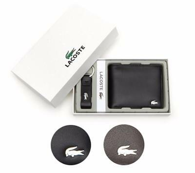 New Lacoste Premium Men's FG Small Billfold Wallet Id Slot Keyring Set NH1502FG