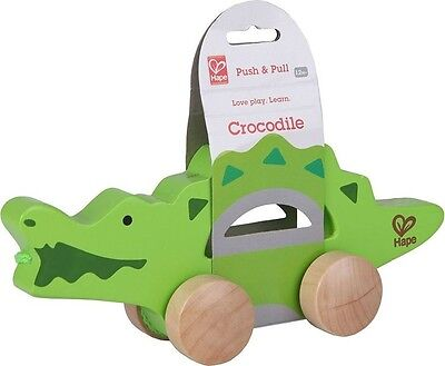 Brand New Hape Push and Pull Crocodile Wooden Activity Toy baby infant